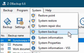 System Backup Menu