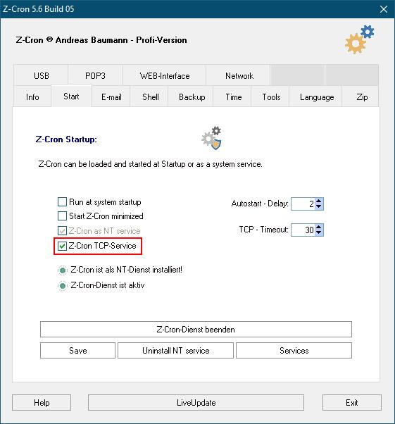 Z-Cron TCP Service Settings